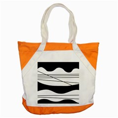White And Black Waves Accent Tote Bag by Valentinaart