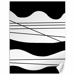 White And Black Waves Canvas 12  X 16   by Valentinaart