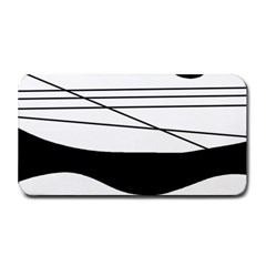 White And Black Waves Medium Bar Mats by Valentinaart