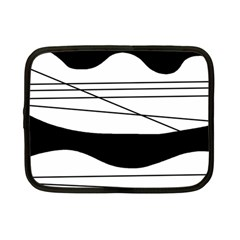 White And Black Waves Netbook Case (small)  by Valentinaart
