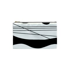 White And Black Waves Cosmetic Bag (small)  by Valentinaart
