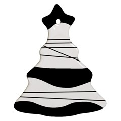 White And Black Waves Ornament (christmas Tree) by Valentinaart