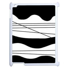 White And Black Waves Apple Ipad 2 Case (white) by Valentinaart