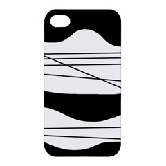 White And Black Waves Apple Iphone 4/4s Hardshell Case by Valentinaart
