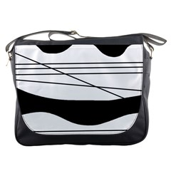 White And Black Waves Messenger Bags by Valentinaart