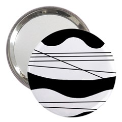 White And Black Waves 3  Handbag Mirrors by Valentinaart