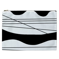 White And Black Waves Cosmetic Bag (xxl)  by Valentinaart