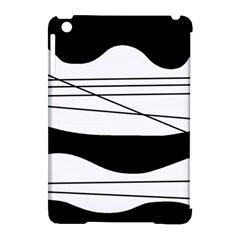 White And Black Waves Apple Ipad Mini Hardshell Case (compatible With Smart Cover) by Valentinaart