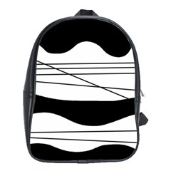 White And Black Waves School Bags (xl)  by Valentinaart