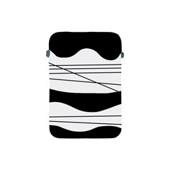 White And Black Waves Apple Ipad Mini Protective Soft Cases by Valentinaart