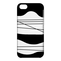 White And Black Waves Apple Iphone 5c Hardshell Case by Valentinaart