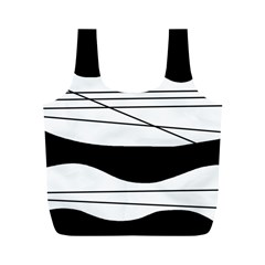 White And Black Waves Full Print Recycle Bags (m)  by Valentinaart