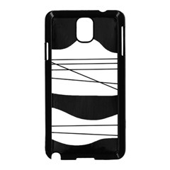 White And Black Waves Samsung Galaxy Note 3 Neo Hardshell Case (black) by Valentinaart