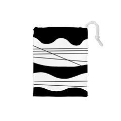 White And Black Waves Drawstring Pouches (small)  by Valentinaart