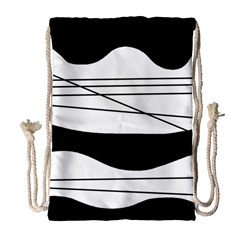 White And Black Waves Drawstring Bag (large)