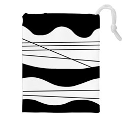 White And Black Waves Drawstring Pouches (xxl) by Valentinaart