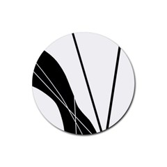 White And Black  Rubber Coaster (round)  by Valentinaart