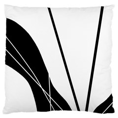 White And Black  Large Cushion Case (one Side) by Valentinaart