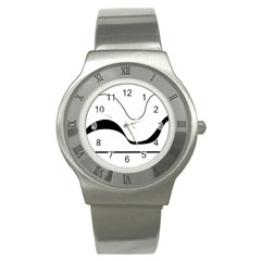 Waves   Black And White Stainless Steel Watch by Valentinaart
