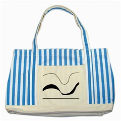 Waves - Black And White Striped Blue Tote Bag