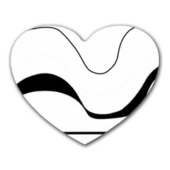 Waves   Black And White Heart Mousepads by Valentinaart