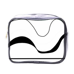 Waves   Black And White Mini Toiletries Bags by Valentinaart