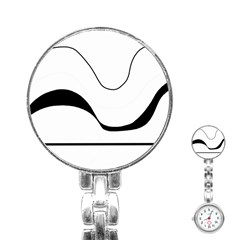 Waves   Black And White Stainless Steel Nurses Watch