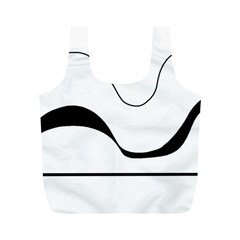 Waves   Black And White Full Print Recycle Bags (m)