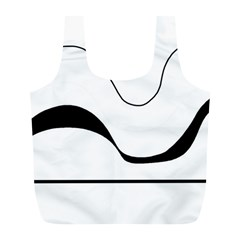 Waves   Black And White Full Print Recycle Bags (l)