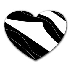 White And Black Decorative Design Heart Mousepads by Valentinaart