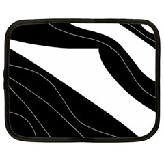 White And Black Decorative Design Netbook Case (large) by Valentinaart