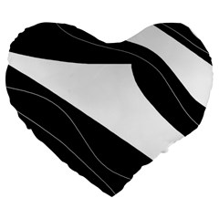 White And Black Decorative Design Large 19  Premium Heart Shape Cushions by Valentinaart