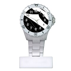 White And Black Decorative Design Plastic Nurses Watch by Valentinaart