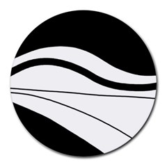 White And Black Harmony Round Mousepads by Valentinaart