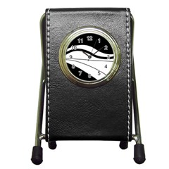 White And Black Harmony Pen Holder Desk Clocks by Valentinaart