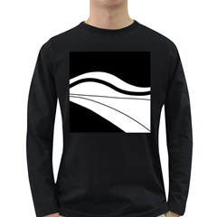 White And Black Harmony Long Sleeve Dark T Shirts by Valentinaart