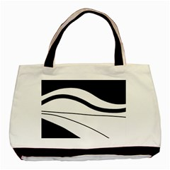 White And Black Harmony Basic Tote Bag (two Sides) by Valentinaart