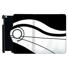 White And Black Harmony Apple Ipad 3/4 Flip 360 Case by Valentinaart