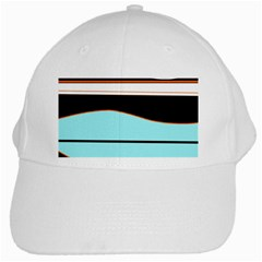 Cyan, Black And White Waves White Cap by Valentinaart