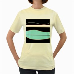 Cyan, Black And White Waves Women s Yellow T Shirt by Valentinaart