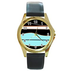 Cyan, Black And White Waves Round Gold Metal Watch by Valentinaart