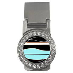 Cyan, Black And White Waves Money Clips (cz)  by Valentinaart