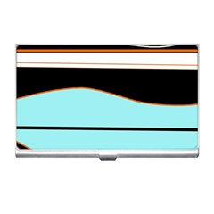 Cyan, Black And White Waves Business Card Holders by Valentinaart