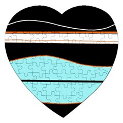Cyan, Black And White Waves Jigsaw Puzzle (heart) by Valentinaart