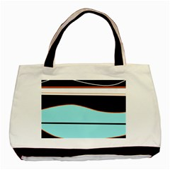 Cyan, Black And White Waves Basic Tote Bag by Valentinaart