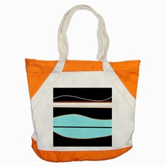 Cyan, Black And White Waves Accent Tote Bag by Valentinaart