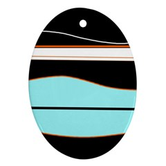 Cyan, Black And White Waves Oval Ornament (two Sides) by Valentinaart