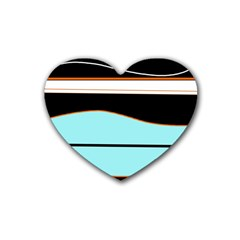 Cyan, Black And White Waves Rubber Coaster (heart)  by Valentinaart