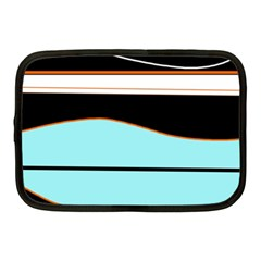 Cyan, Black And White Waves Netbook Case (medium)  by Valentinaart