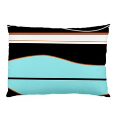 Cyan, Black And White Waves Pillow Case by Valentinaart